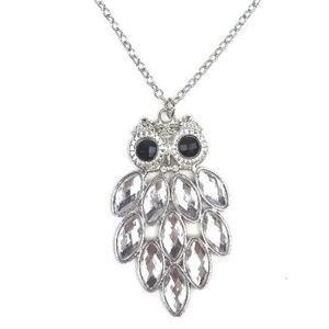 "Jewelry - Owl Rhinestone Jeweled Fashion Necklace 14.5"" Long"